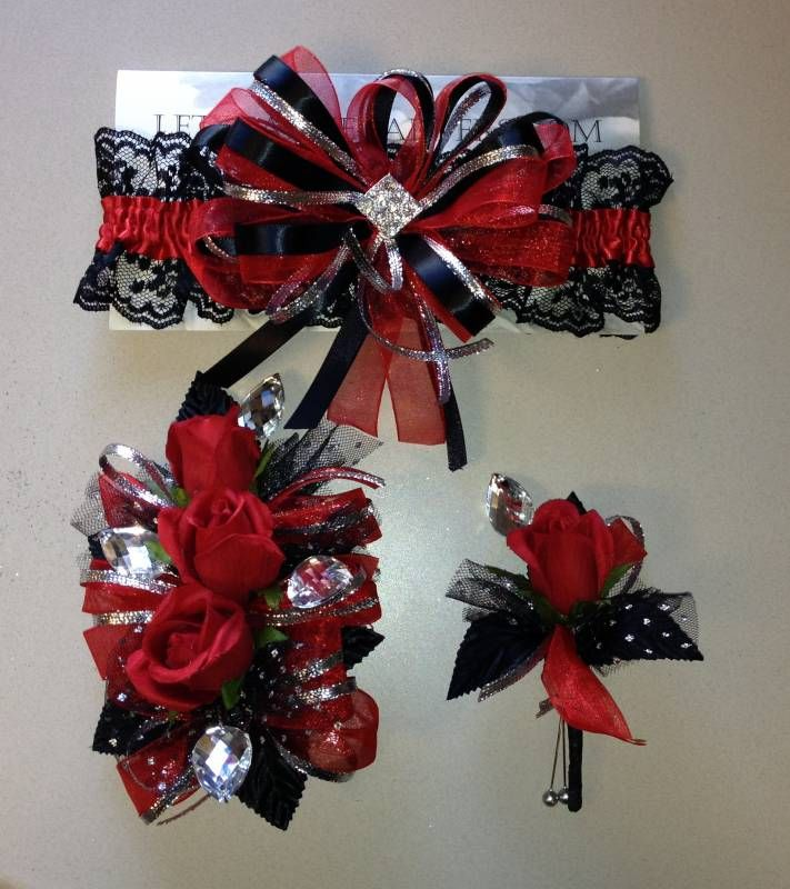 Red black prom garter corsage and boutonniere set - satin garter band with white lace, organza, satin ribbons and metallic silver.