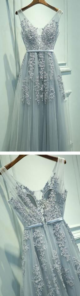 A-Line Sleeveless Gray Long Prom Dress,V-Neck Prom Dress with Lace