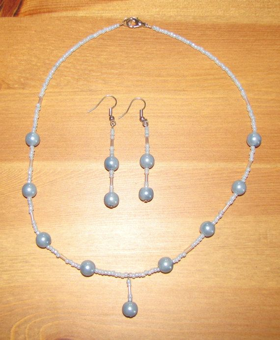 Baby blue pearl and bead set by RosemarysJewellery on Etsy
