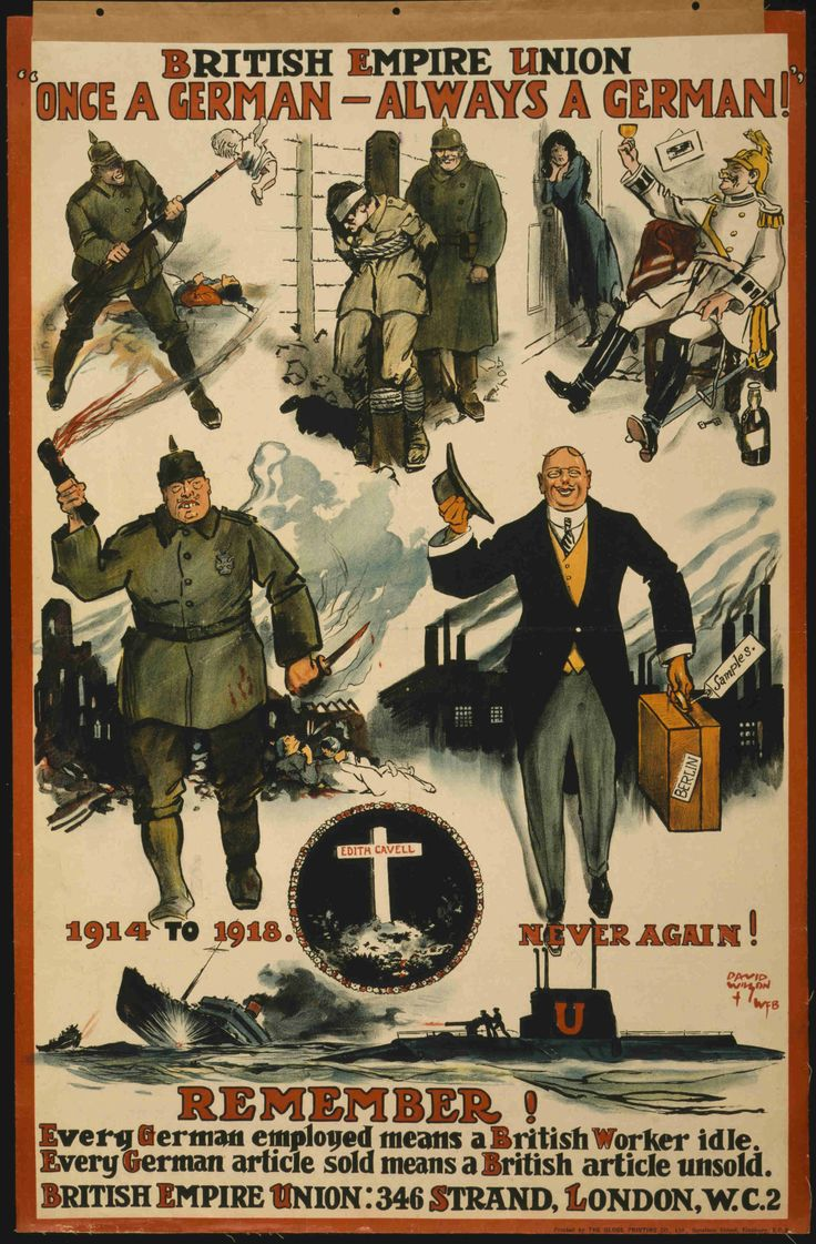 """[UK WWI ERA] """"Never again!"""" A poster printed right after the first world war in 1918."""