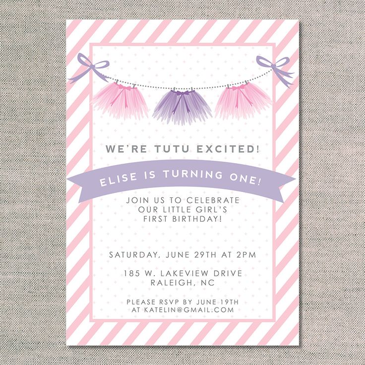 kid's birthday invitations: tutu excited - front