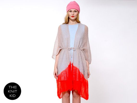 cape coat SUVI greige  neon red orange mohair the от THEKNITKID