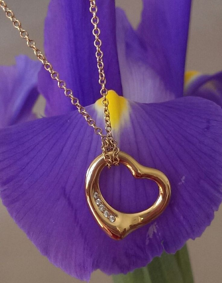 Tiffany & Co 18ct Yellow Gold and Diamond 'Elsa Peretti' Sml Heart Pendant 16""