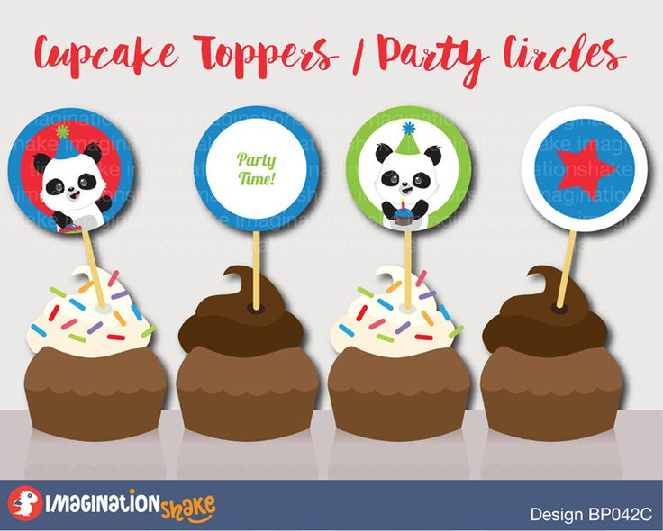 Panda Birthday Party Cupcake Toppers Party Circles PRINTABLE / Panda Bears / Cupcake Toppers / Party Printables / Blue Red Gren Birthday Set - pinned by pin4etsy.com