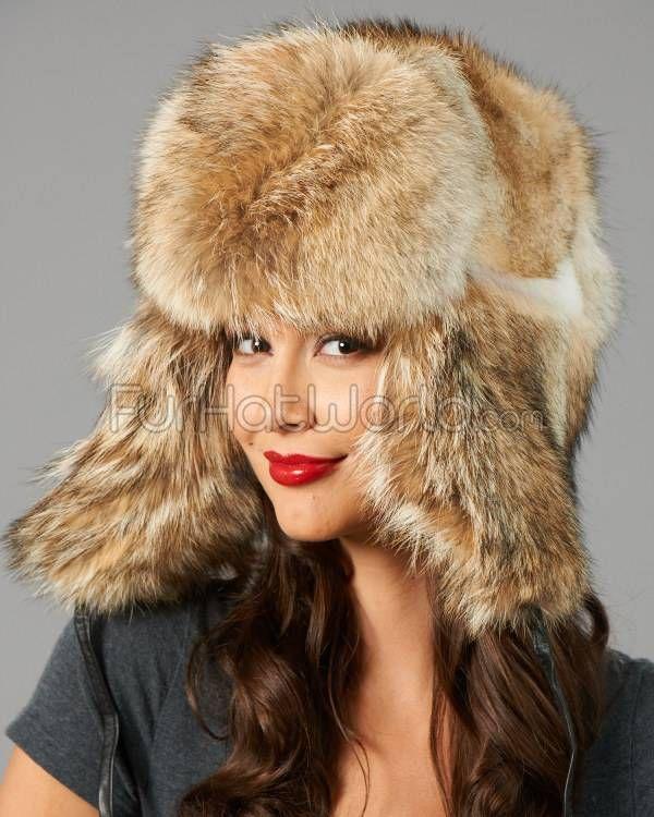 Womens Coyote Full Fur Russian Hat   Fur Hat World