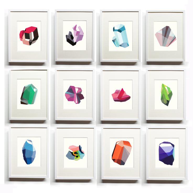 Elisa Werbler: Birthstone. Hand-painted Silkscreen.  Entire set $1,200. Each 110 dollars. Limited Edition.    Via Design*Sponge.