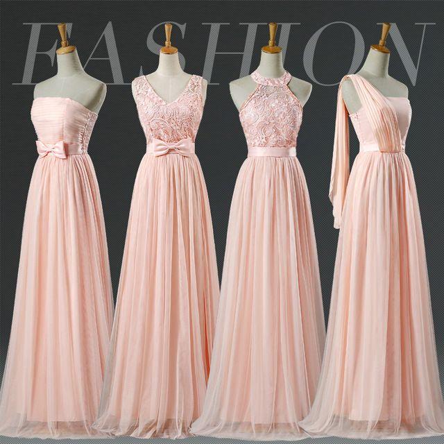 LC250M Blush Bridesmaid Dresses Floor Length Halter Lace Pale Pink Bridesmaid Dresses Prom