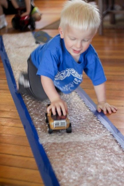 It's Bubble Wrap Appreciation Day! Why not use bubble wrap to make a runway!