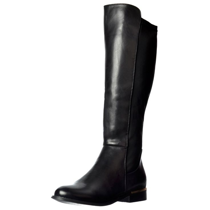 Onlineshoe Women's Gold Heel Detail Extra Wide Calf Stretch Knee High Flat Riding Boot * Check this awesome product by going to the link at the image.