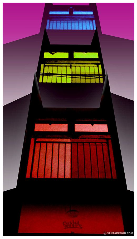 우리동네 다크나이트 빌라 / 사이좋게 빨노파 / #Dark #Knight #House / #Red #Yellow #Blue / Original image: http://santadesign.com/blog/archives/7697