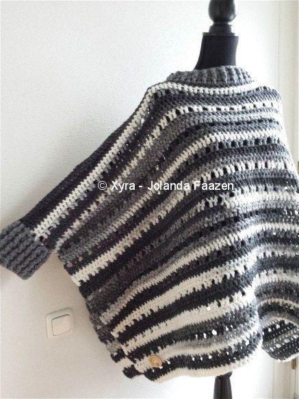 Xyra PATR1001-crochet pattern-poncho with sleeves by XyraCreaties