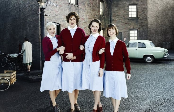 """While most definitely an ensemble drama, Call the Midwife most often utilizes the perspectives of the four young midwives at the story's center: confident Jenny Lee (Jessica Raine), sophisticated Beatrix """"Trixie"""" Franklin (Helen George), clumsy Camilla """"Chummy"""" Fortescue-Cholmondeley-Browne (Miranda Hart), and meek Cynthia Miller (Bryony Hannah). The quartet of woman could not possibly be more different from each another, yet somehow, their dynamic works remarkably well: As they sip Babycham…"""