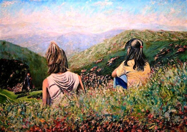 بريشة الطبيب رضا منذر ياغي-Oil-My Daughters: Chantal and Caroline-By Doctor Rida Yaghi