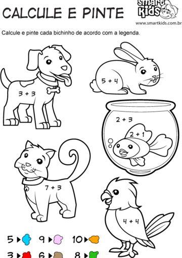 Animais Domésticos Calcule e Pinte