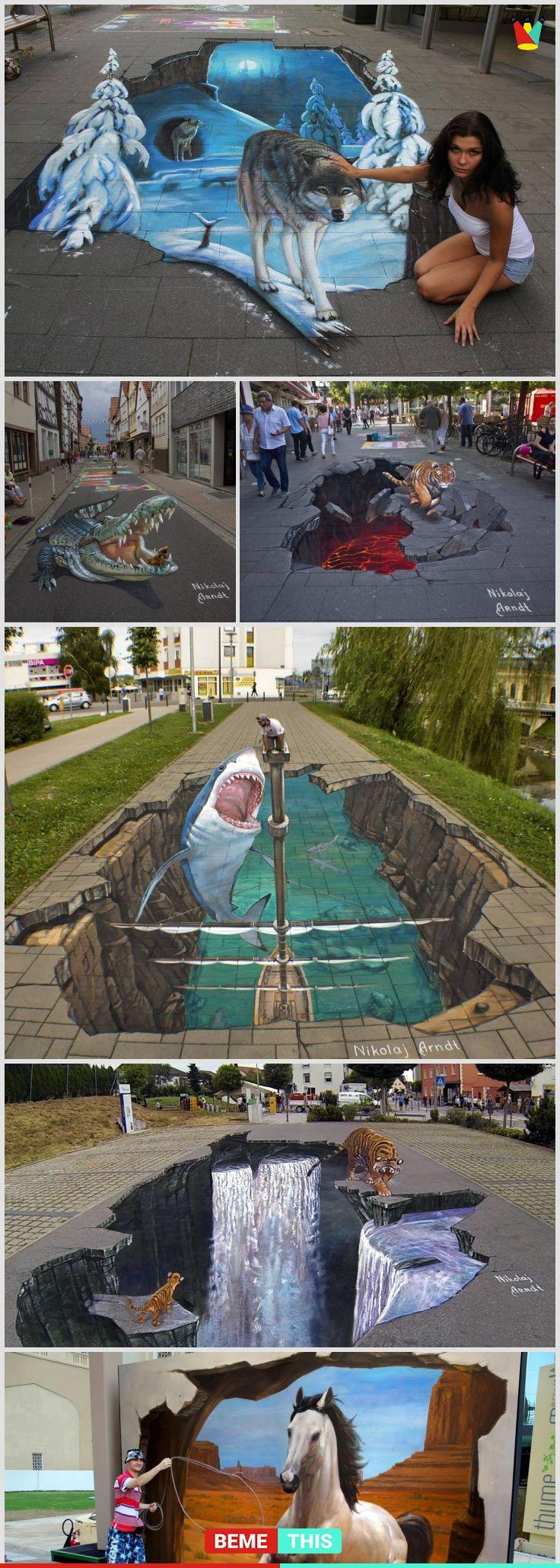 This Amazing Artist Creates Incredibly Realistic Looking 3D Art Work #streetart #3dart #nikolajarndt #bemethis