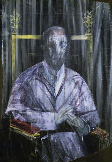 Francis Bacon, 1955  Study (Imaginary Portrait of Pope Pius XII)  (oil on canvas)