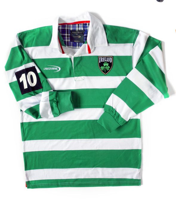 Great shirt for St. Patrick's Day!   Lansdowne Green & White Striped Long Sleeved Ireland Rugby Shirt (R3080)