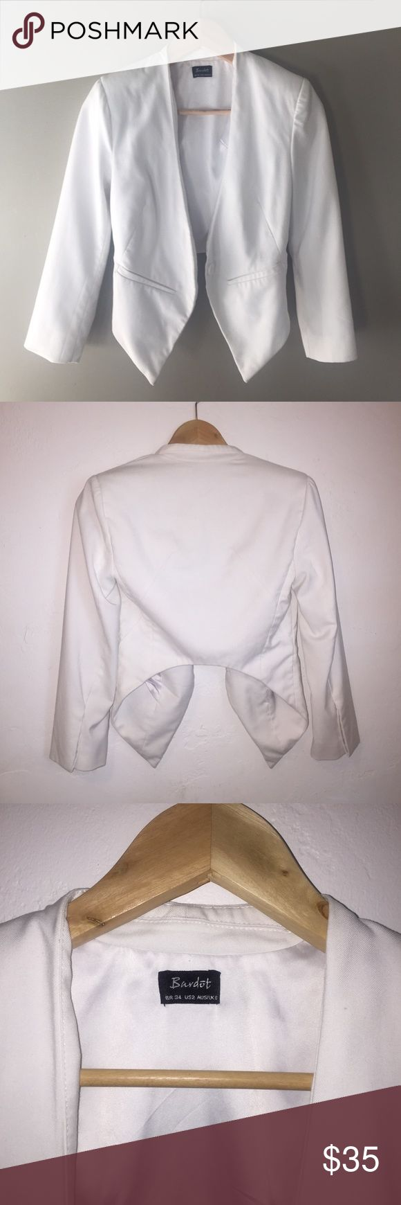 ✨ FLASH SALE ✨ White Bardot Blazer Great condition! US size 2 but would fit a XS. Such a unique cut 😍 Bardot Jackets & Coats Blazers