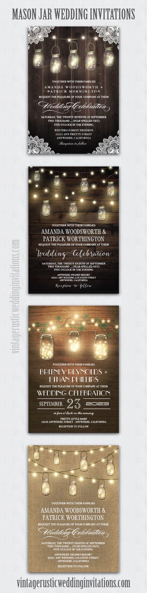 Mason jar wedding invitations - barn wood, burlap, string lights and more in rustic themes. #masonjarweddinginvitations  #countryweddinginvitations #mason #jar #wedding #invitations #country #rustic #rusticweddinginvitations