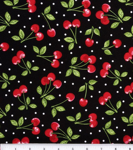 """Novelty Cotton Fabric - """"Dots with Cherries."""""""