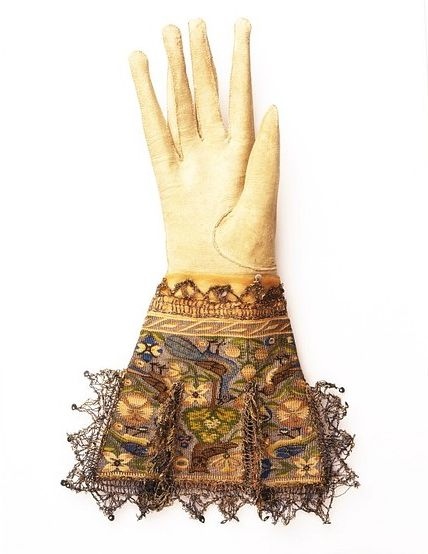 Gloves, circa 1590.  Gloves in the 16th and early 17th centuries were much more than just an accessory to fashionable dress. The wearing or carrying of gloves by either sex was a conspicuous mark of rank and ostentation. They were worn in the hat or belt, as well as carried in the hand.