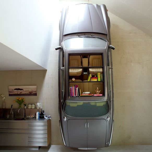 auto als boekenplank