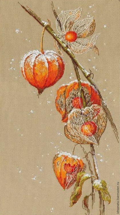 Cross-stitch panel / Натюрморт ручной работы. Ярмарка Мастеров - ручная работа. Купить Физалис. Handmade. Оранжевый, вышивка ручная, картина в подарок