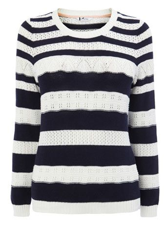 Navy/Ivory Petite Long Sleeved Stripe Jumper