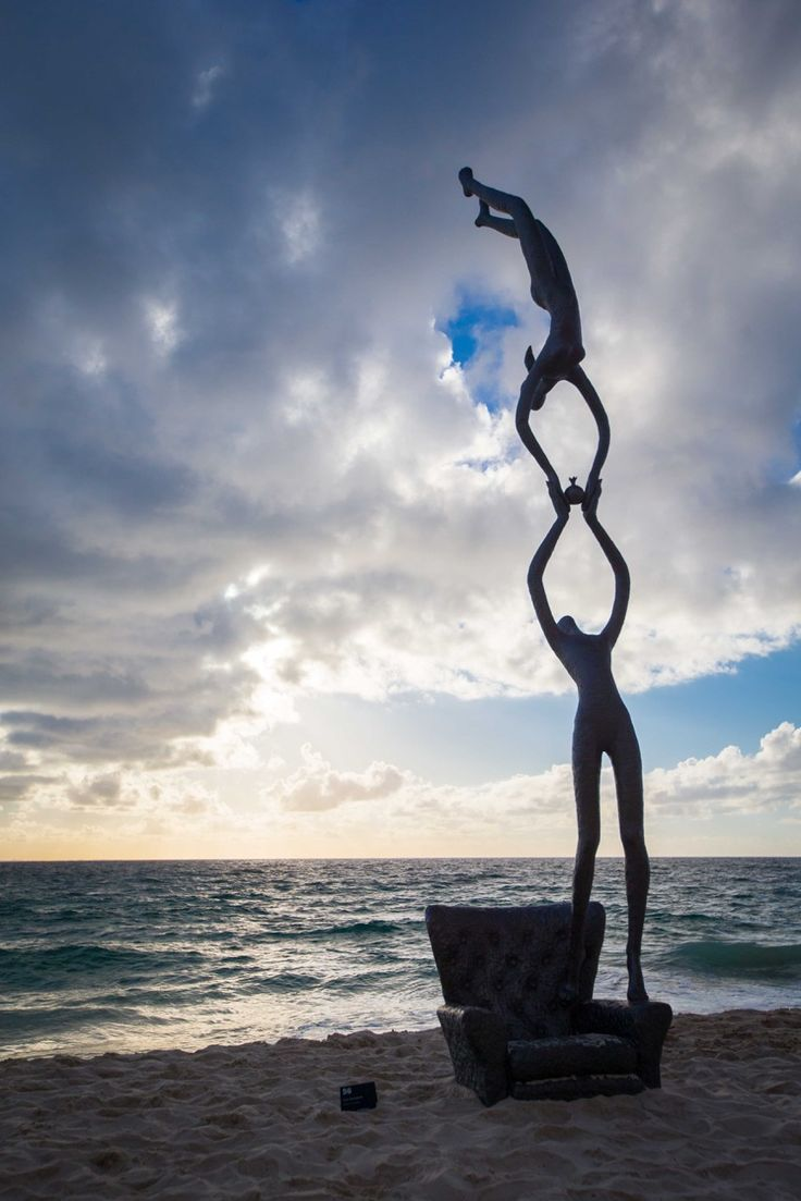 A stunning sculpture at sunset from this year's Sculpture By The Sea exhibit at Cottesloe Beach.