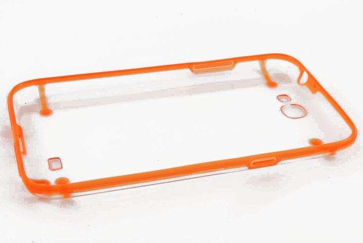 Чехол кейс прозрачная крышка, силиконовая рамка Samsung N7100 Galaxy Note 2 (оранжевый)  Чехол кейс прозрачная крышка, силиконовая рамка Samsung N7100 Galaxy Note 2 (оранжевый)