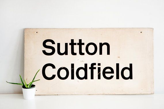Vintage Sutton Coldfield Train Station Sign by BrightWallVintage