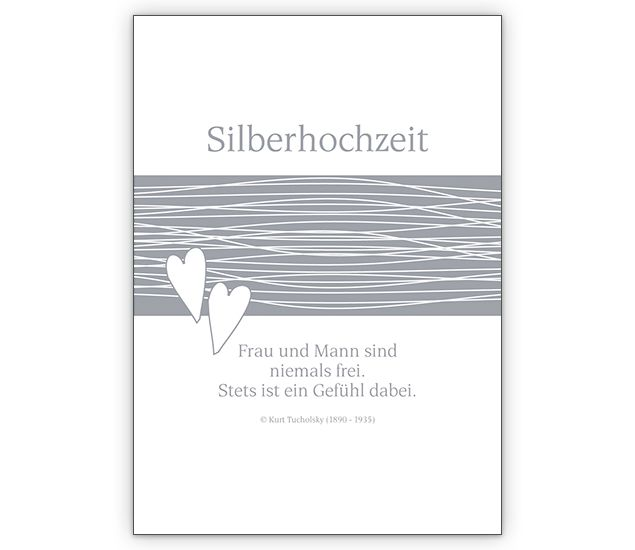 Glückwunschkarte zur Silberhochzeit mit Herzen. - http://www.1agrusskarten.de/shop/gluckwunschkarte-zur-silberhochzeit-mit-herzen/    00012_0_2782, Ehe, Grusskarte, Helga Bühler, Hochzeit, Jubiläum, Klappkarte, Silberhochzeit, silbern00012_0_2782, Ehe, Grusskarte, Helga Bühler, Hochzeit, Jubiläum, Klappkarte, Silberhochzeit, silbern