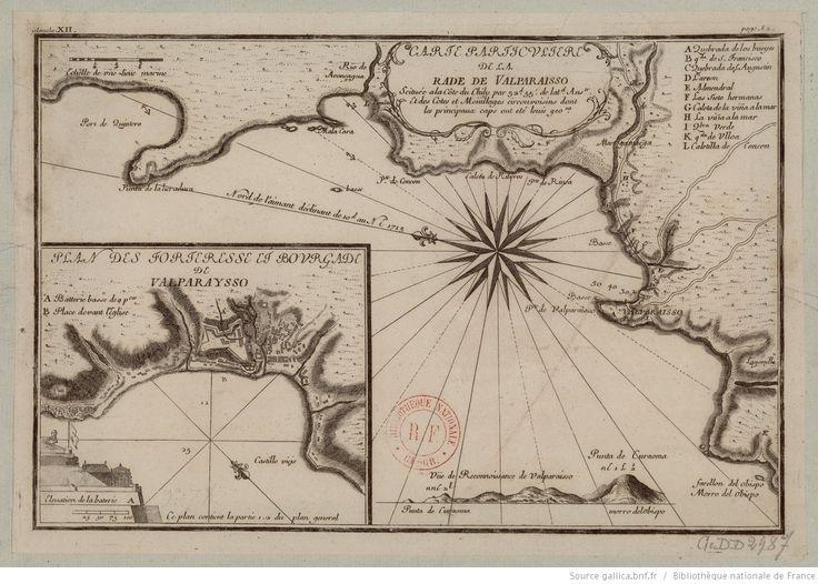 Carte particulière de la rade de Valparaisso [sic] scituée a la côte du Chily par 32d. 55'de lat. austr. et des cotes et mouillages circonvoisins dont les principaux caps ont été levés geo.nt / [Frézier]