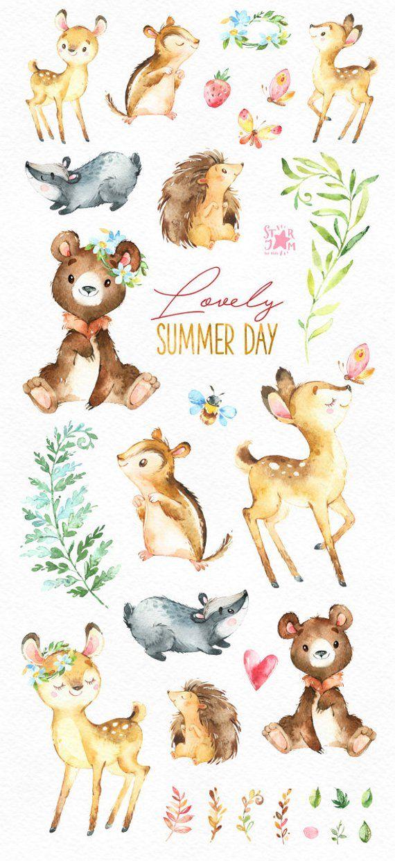 Nice summer day. Forest animals clip art, watercolor, chipmunk, deer, badger, deer, bear, hedgehog, greeting, invite, babyshower, forest