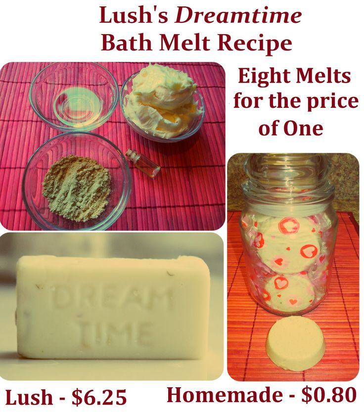 Homemade Lush Dreamtime Bath Melt Recipe, Make 8 melts for the price of one and save yourself $ 43 !!! DIY Saint Valentine's Gift Idea       www.mariasself.co...