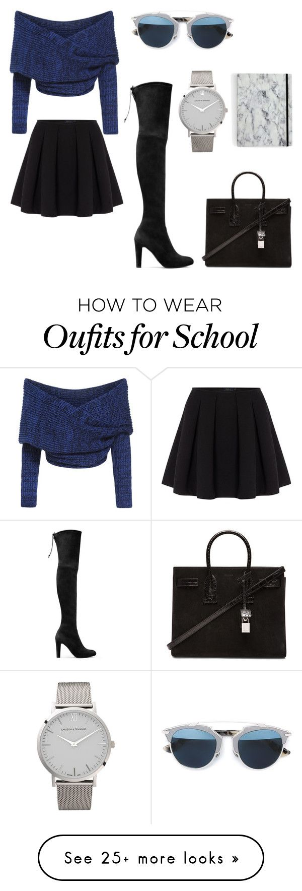 """""""Warm chic school wear"""" by shaeelee on Polyvore featuring Polo Ralph Lauren, Stuart Weitzman, Larsson & Jennings, Yves Saint Laurent, Christian Dior, women's clothing, women's fashion, women, female and woman"""