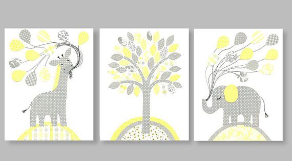 Art for children nursery print baby nursery decor Kids art yellow gray giraffe elephant balloons tree set of three prints 8 x 10 or 11 x 14
