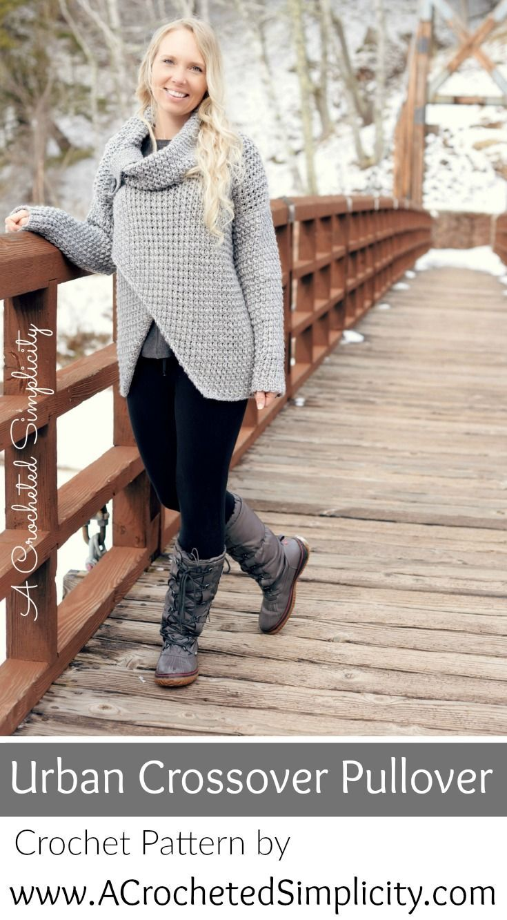 Crochet Sweater Pattern - Urban Crossover Pullover by Jennifer Pionk of A Crocheted Simplicity