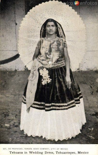 Traditional wedding dress in Tehuantepec, Mexico.
