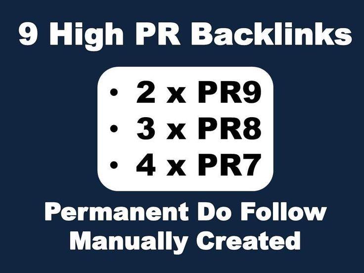 9 High PR Permanent Do Follow Backlinks Manually Created SEO Google Pagerank