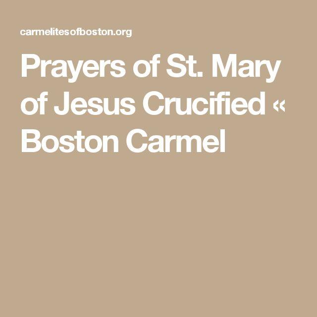 Prayers of St. Mary of Jesus Crucified «  Boston Carmel