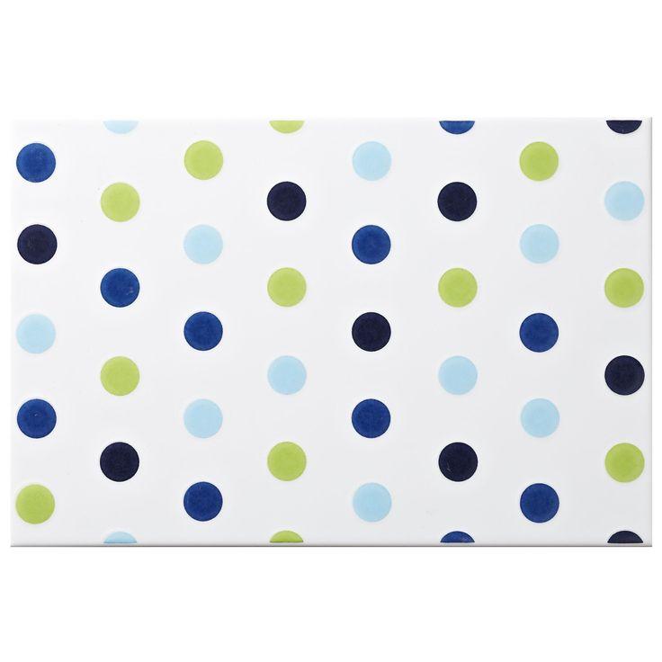 Multi Spot Blue Ceramic Wall Tile, (L)300mm (W)200mm | Departments | DIY at B