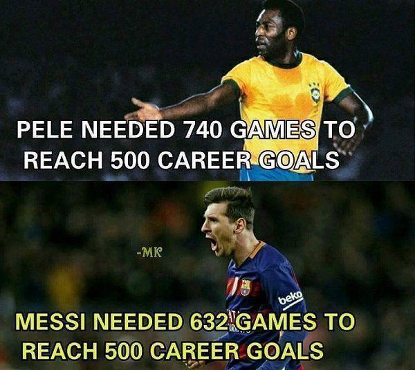 Pele potrzebował 740 meczów żeby strzelić 500 goli • Lionel Messi strzelił 500 goli w 632 meczach • Messi lepszy nawet od Pele >> #messi #lionelmessi #pele #football #soccer #sports #pilkanozna