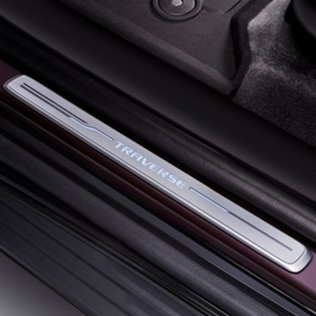 Illuminated Front Door Sill Plates With Traverse Script Chevy