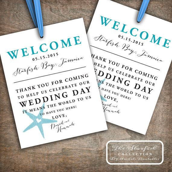 Beach Welcome Bag Tags Printable Wedding By RachelsPrintables
