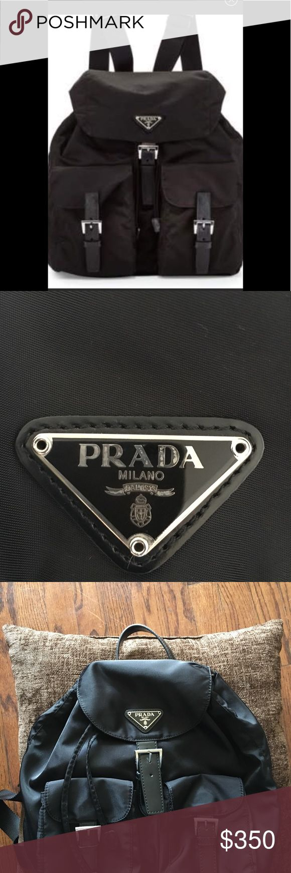 PRADA BACKPACK-AUTHENTIC-NYLON AN LEATHER 11 x 10 backpack-AUTHENTIC PRADA BACKPACK VINTAGE, no white tag inside. SHEEN LIKE NEW. AUTHENTIC AN BEAUTIFUL. WELL  LOVED. Read notes of the authentic vintage . an PRADA ' R'. TAKE NOTE OF THE BEAUTIFUL GLOSSY FINISH, Prada Bags Backpacks