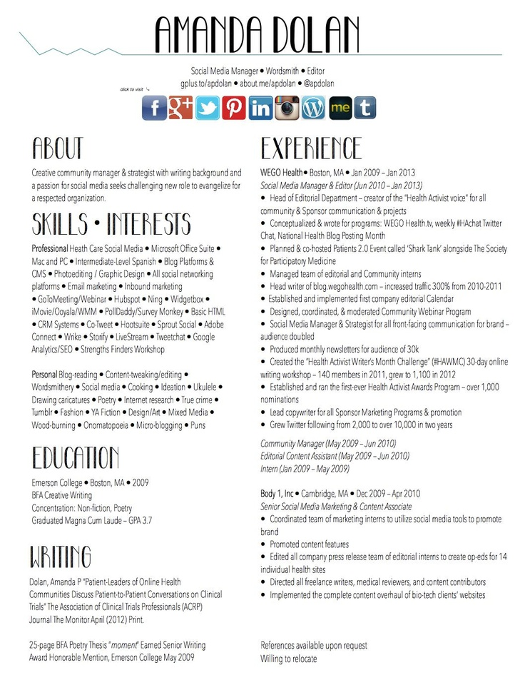 39 best images about My Resume \ Digital Portfolio on Pinterest - video resume examples