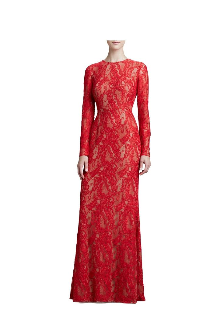 Red Carmen Marc Valvo Red Long Sleeve Lace Gown - was $1170.0, now $440.0 (62% Off) @ Ideel