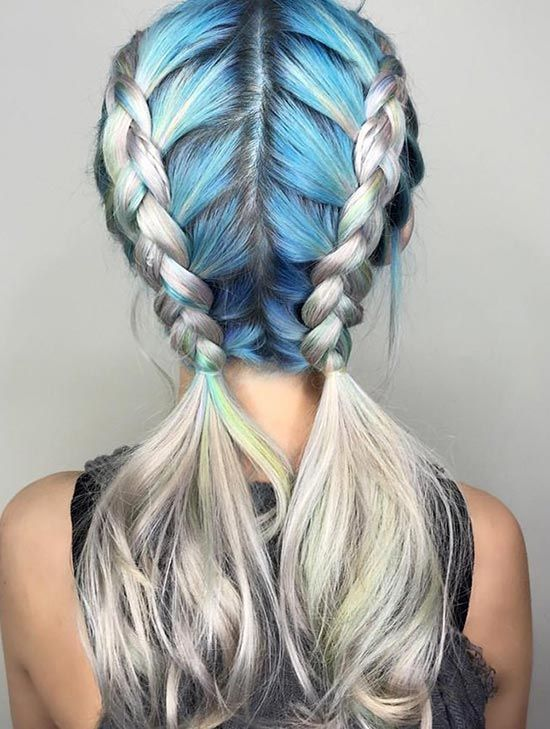 Colour Your Plaits. Recreate this look on your toned blondes with hair chalk on your roots!