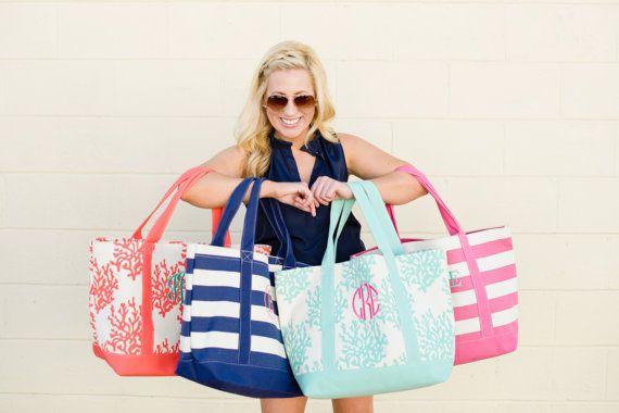 Sac de plage  sac de plage cabas  sac toile  par TheFlowerFairyShop